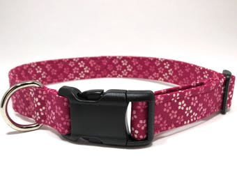 Dog Collar / Pink Flower Fabric Dog Collar / Fabric Dog Collar / Pink Dog Collar / Girl Dog Collar / Female Dog Collar/ Pet
