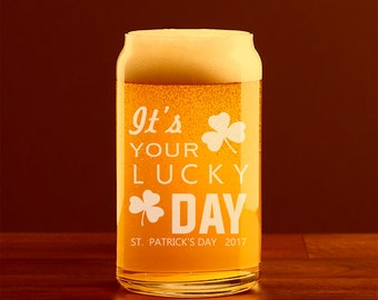 Custom Beer Glass, Can Glass, Engraved, St. Patrick's Day Glassware, Shamrock, Personalized Glass