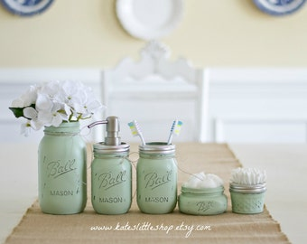 Mason Jar Bathroom Kit. Ball Mason Jars. Rustic Home Decor. Sea Foam Green. Green Farmhouse Bathroom Decor. Bathroom Soap Dispenser. Rustic.