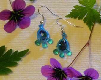 Aquamarine and teal teardrop beadwork earrings