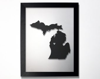 Michigan Map / Laser Cut Map / Michigan State Art / Michigan Art / Framed State Map / Michigan Gift / Wedding Gift / Anniversary Gift