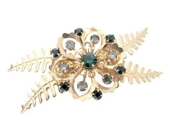 Vintage Christmas Brooch, 1960's Christmas Flower Brooch, Pin, 1960's Christmas, Holiday Jewelry