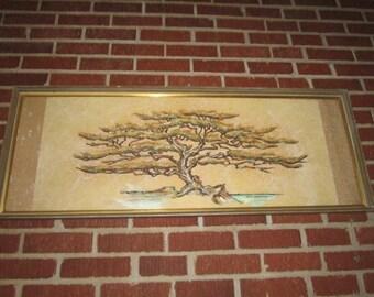 Vintage Mid Century Modern Large Framed Tree Original Oil Painting
