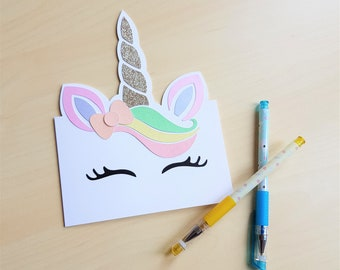 Shaped Unicorn Birthday Card, magical birthday card, girl's birthday card, cute unicorn card, glitter birthday card, sparkly unicorn card