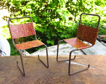 Vintage Mid-Century Bent Metal Doll Chairs - Metal Doll House Chairs - Funky Doll House Chairs