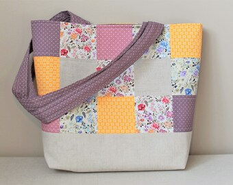Patchwork tote bag, tote bag, beach bag, fabric bag, quilted tote bag, large tote bag, patchwork quilted tote, tote bag for women,travel bag