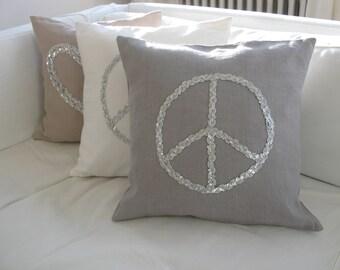 Pillow/cushion Peace sequins