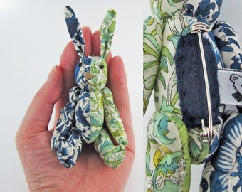 MADE-TO-ORDER ( 1 - 2 Weeks)- Bunny Brooch- Liberty William Morris Blue Green-Half and Half