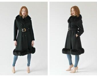 1960s Black Shearling Winter Coat- M, Penny Lane Coat, Hippie Coat