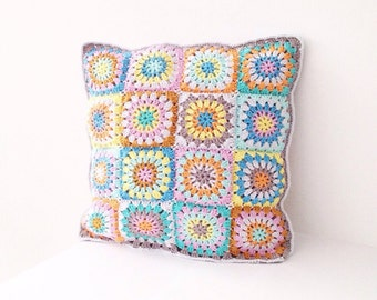 Soft Colored Circle Square Crochet Pattern - Instant Download