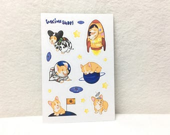 MATTE | Gimme Outer Space Corgis! Cute Puppy Stickers