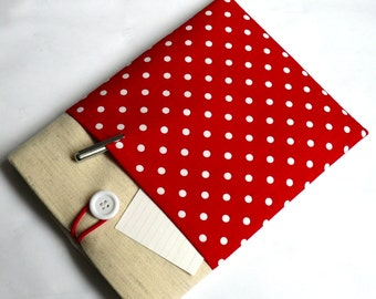 """Kindle Case, Fire HD Sleeve, Nook Cover, Galaxy Tab, Nexus Case, Lenovo Yoga Tab 8"""" Case - SUPERIOR Shock Absorbent Padding - Red Polka Dot"""