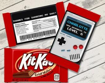 Game Boy Kit Kat Candy Bar Label/Wrapper - Video Game Party Favor, Nintendo, Gameboy   D.I.Y. Editable Text INSTANT DOWNLOAD Printable