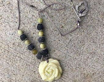 Jade, Lavastone and silver aromatherapy Rose necklace