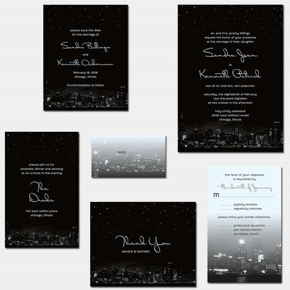 Chicago city skyline wedding invitations with night stars like this item stopboris Gallery