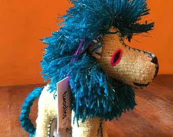 Handmade Natural Wool Mayan Blue Glitter Lion, Mexican Twoolie Stuffed Animal Lion