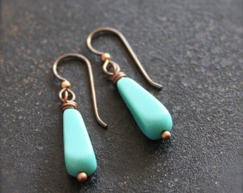 Simple Turquoise Drop Earrings