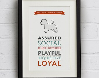 West Highland Terrier Dog Breed Print - Westie Art