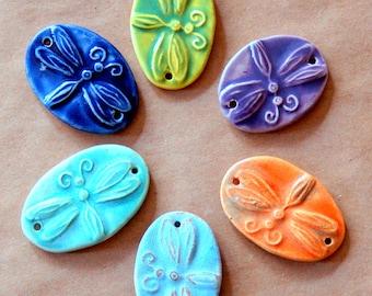 6 Ceramic Dragonfly Beads - 2 Holed Bracelet Beads - a Rainbow of Dragonfly Beads - Dragonfly Connectors - Ceramic Links - Boho Bracelet