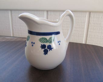 Vintage Hartstone Pottery Small Syrup/Milk Pitcher Blueberry Design : hartstone pottery dinnerware - pezcame.com