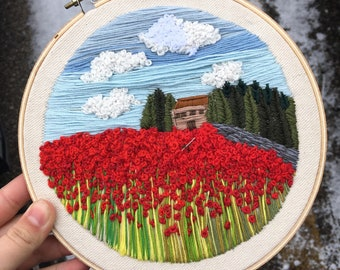 Floral embroidery hoop, wall art