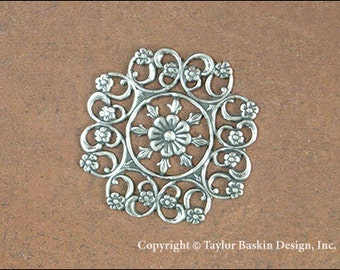 Antiqued Sterling Silver Plated Victorian Filigree Flower Component (item 8468-Flat AS) - 4 Pieces