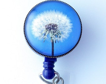 ID Badge Holder - Dandelion Design on  Blue - ID Badge Reel - 312