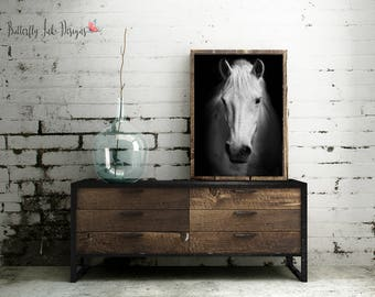 Horse Print  | Horse Face Print | wall art | Animal wall art | Home Decor | Animal Print | Black & white Horse print