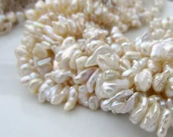 Ivory Keshi Pearls, Ivory Pearls, Cream Keshi, Center Drilled Keshi Pearls, Keishi Pearls, Real Pearls, Cornflake Pearl 8mm-9mm, Half Strand