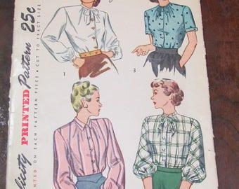 1940s Blouse Pattern Never Used Vintage Bishop Sleeve Ladies Blouse Pattern Old Size 18
