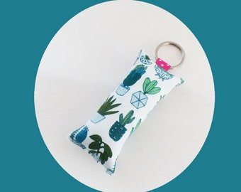 Pots of CACTUS green, pink and white fabric key fob