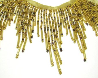 All Glass Brown and Gold Beaded Fringe 5.5 inch Decorator or Costume Trim