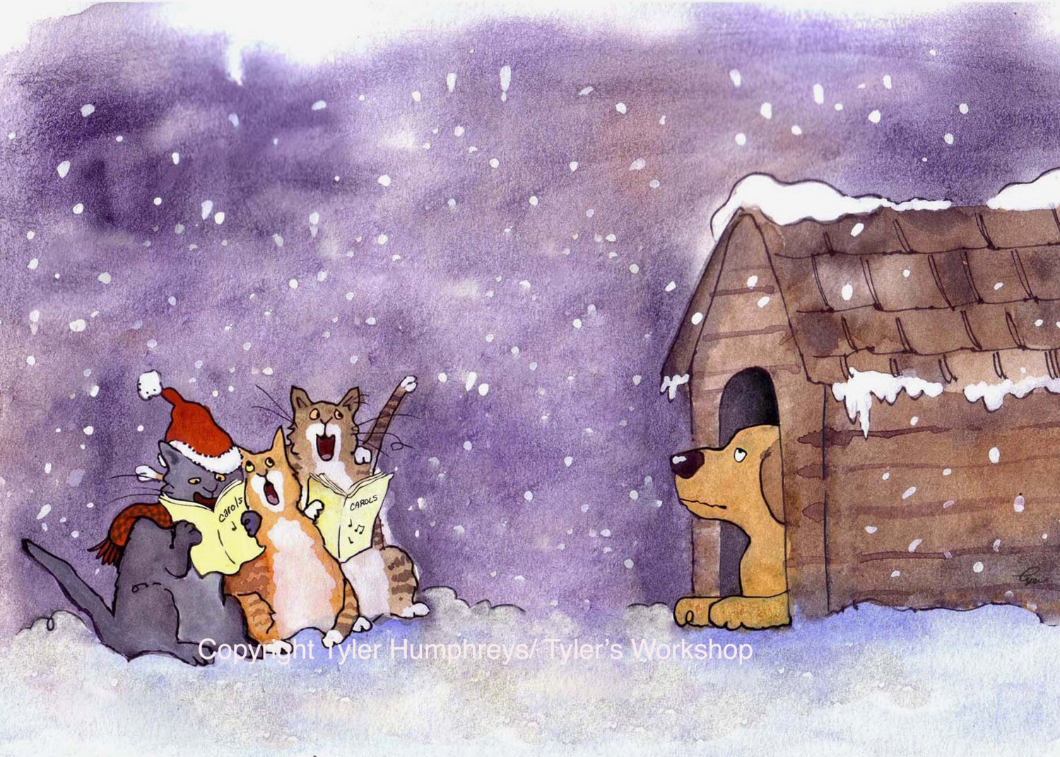 Funny cat christmas card dog and cat christmas card zoom kristyandbryce Image collections