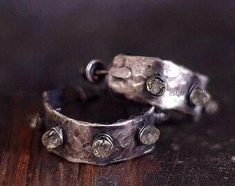 raw sterling silver post hoops  earrings • lemon quartz earrings • labradorite lemon quartz stud hoop earrings  •rustic everyday