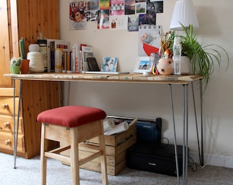 Recycled Handmade Wooden Desk with Hairpin Legs