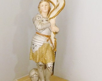 Joan of Arc Statue, The Maid Of Orleans With Banner And Flag circa 1890, Hand Painted Plaster Statue, Lovely Antique Condition 23 Ins Tall