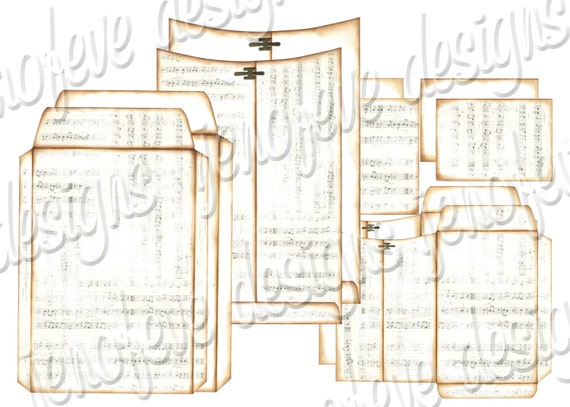 6x9 Printable Envelope Album Music Notes & Plain Templates