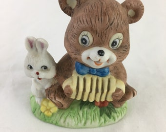 Frankel Accordion Bear Bunny Rabbit Porcelain Figurine Spring Easter