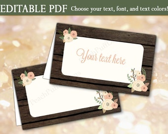 Editable place cards (INSTANT DOWNLOAD) - Rustic place cards - Rustic placecards - Printable place cards - Rustic candy buffet WB001
