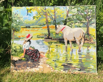 Royal Paris Needpoint landscape, horse, countryside, stream, river. Vintage tapestry, wall decor, home decor