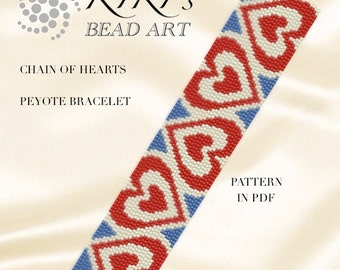 Pattern, peyote bracelet Chain of hearts pattern in PDF - instant download