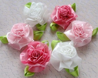 6 Handmade Flowers With Leaves (2 inches) In Off White And Lt Pink And Fantasy Rose MY-006 - 25 Ready To Ship