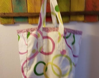 Pink Reversible Tote Bag; Grocery Bag; Everyday Tote; Bag; Tote; Red and White Flowers; Washable tote bag