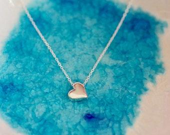 Heart Necklace - Silver Heart - Heart Jewelry - Initial Necklace - Heart Charm - Bridesmaid Necklace - Dainty Heart - Small Heart Necklace