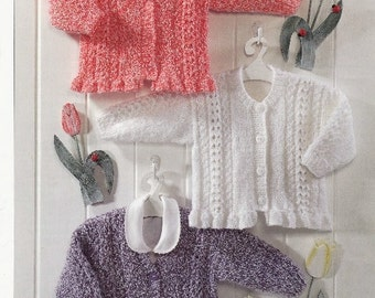 vintage knitting pattern for frilly edge cardigans age 0 to 6 yrs 16/26 in dk yarn