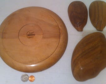 """Vintage Set of Wooden Snack Tray Set, Woodpecker Woodware, Hand Made in Japan, 10"""" Plate, 3 Smaller Wooden Dishes, Trays, Quality Wood"""