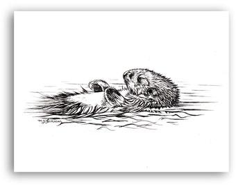 Otter Drawing, Pen and Ink, Floating Sleeping Otter, Original artwork, black and white, woodland animal, river otter art