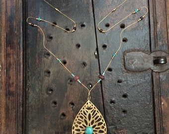 Handmade Vermeil And Turquoise Pendant Necklace