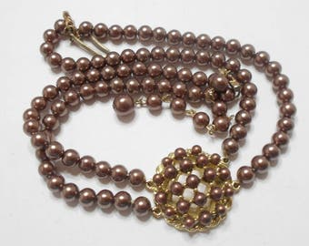 Vintage Double Strands Choker Necklace (5039) Brown Faux Pearls