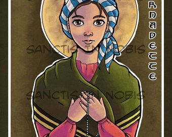 Saint Bernadette Saint Icon Art Print, Catholic  Art Gift, Confirmation Iconography